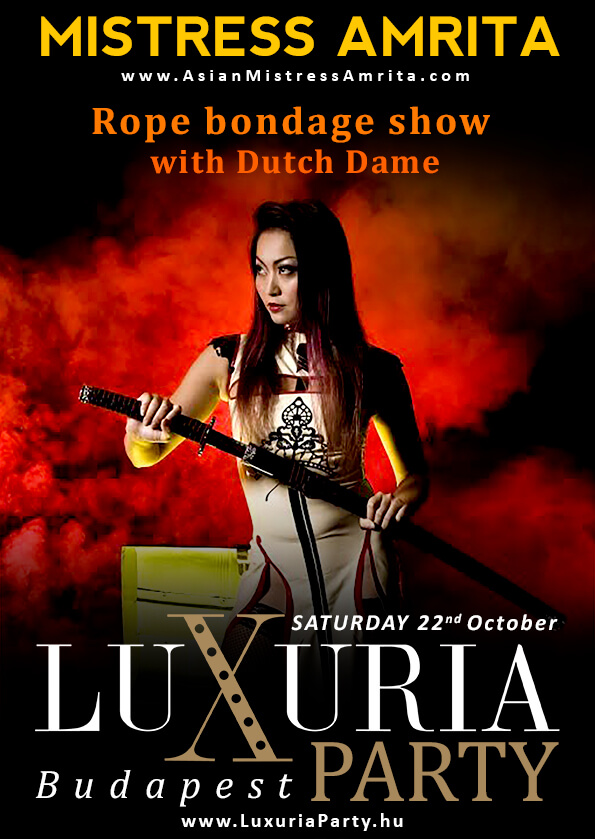 Mistress Amrita Rope bondage show with Dutch Dame  at Luxuria Party  in Budapest, Hungary on 22 October 2016