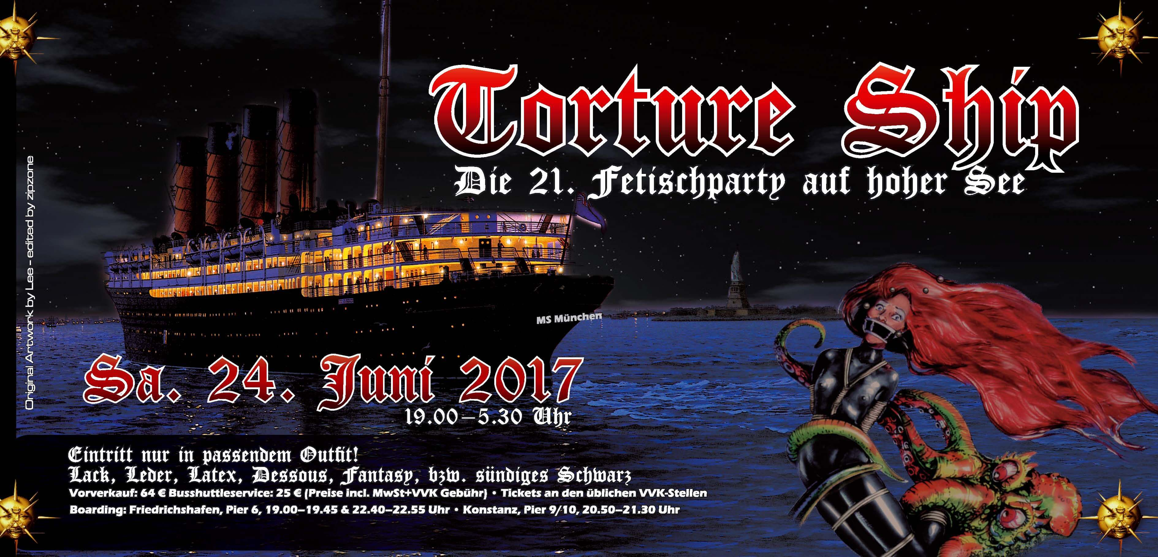 Mistress Amrita Main show at the pier in Konstanz with Dutch Dame  at Torture Ship  in Bodensee, Germany on 24 June 2017