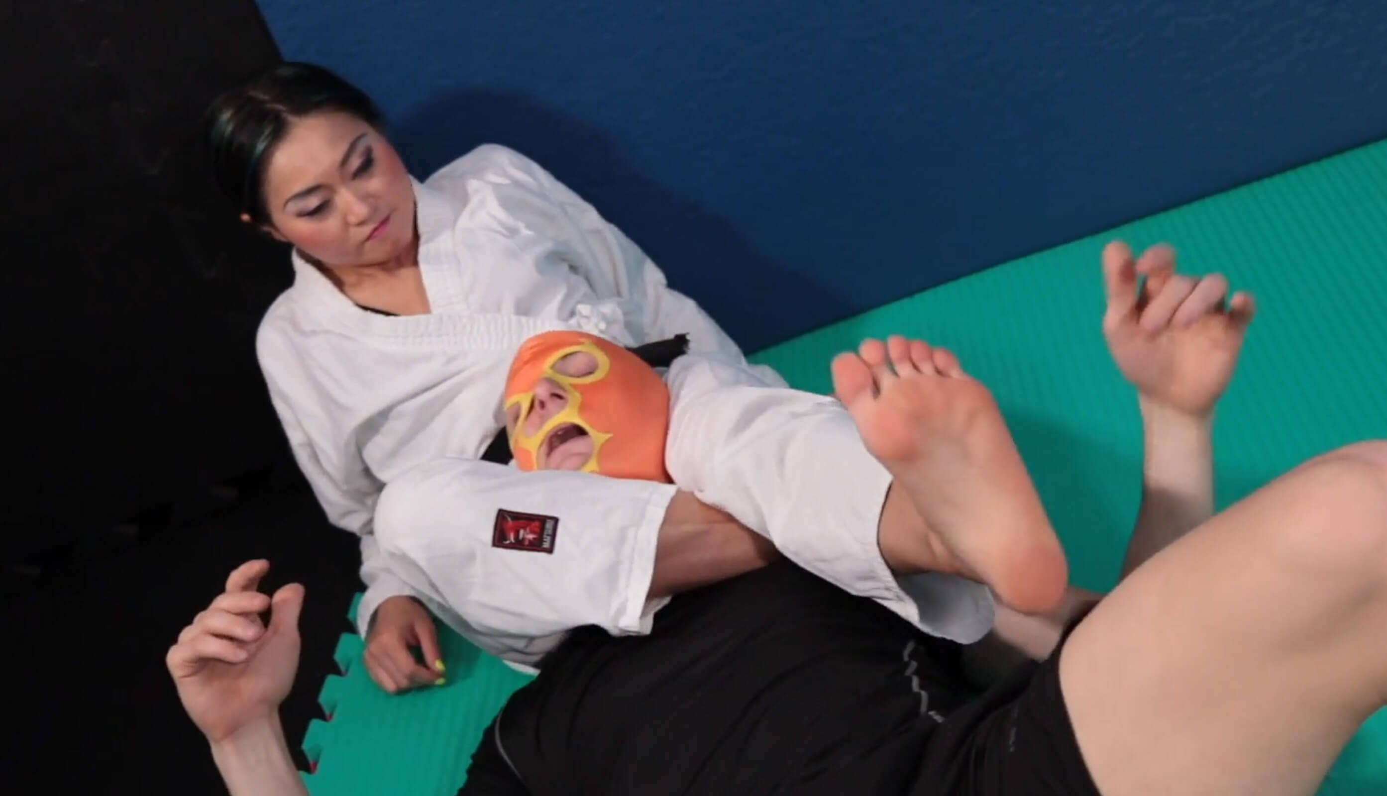 Mistress Amrita kimono black belt wrestling domination